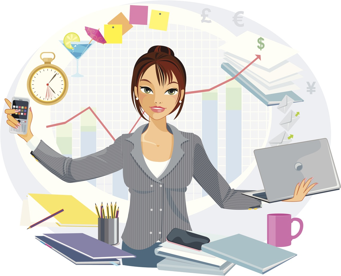 Distracted multi-tasking female business person who is frustrated