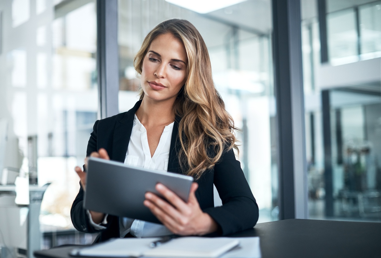 Focused and successful female business woman does Deep Work