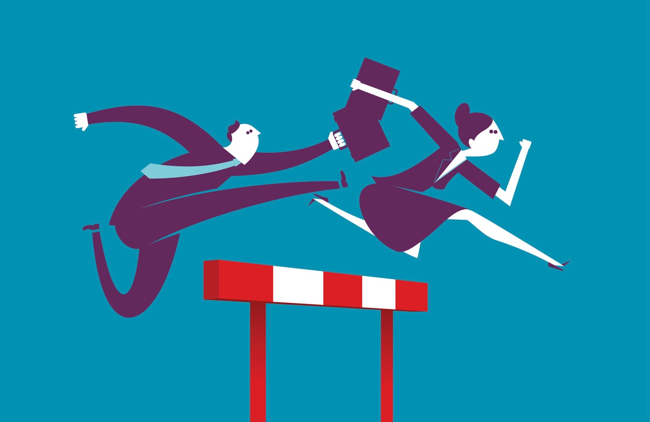 Salesman and sales woman sprinting over hurdle to achieve 2018 sales goals.jpg